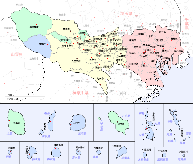 東京都の地図(市区町村区分図)